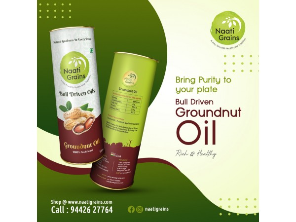 Bull Driven Groundnut oil (Cold Pressed)